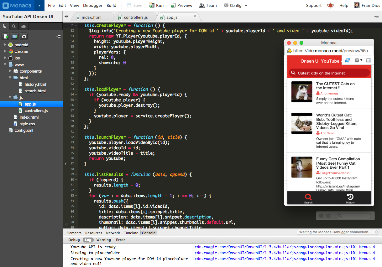 Tutorial: Make a YouTube app with AngularJS and Onsen UI